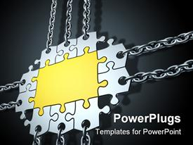 PowerPoint template displaying gold and silver jigsaw puzzle with chains attached to border pieces