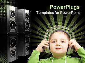 PowerPoint template displaying a small kid wearing headphones with black speakers behind