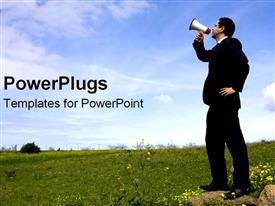 PowerPoint template displaying marketing, advertising, communications metaphor with business man holding megaphone standing in field