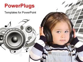 PowerPoint template displaying a small kid wearing a head set and speakers