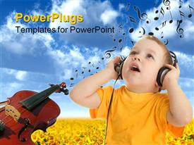 PowerPoint template displaying a kid listening to music and enjoying it