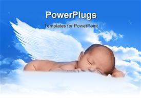 Heavenly Infant In Clouds With Wings presentation background
