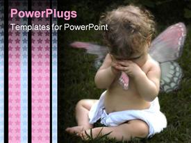 PowerPoint template displaying tearful, crying baby wearing diaper and torn angel wing, blue and pink stars