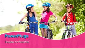 PowerPoint template displaying three little children with their bikes