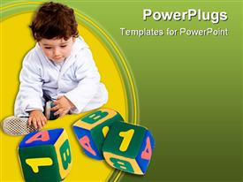 PowerPoint template displaying baby in white playing with number and alphabet blocks