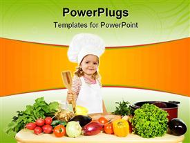 PowerPoint template displaying tiny girl chef holding wooden cooking spoon surrounded by vegetables
