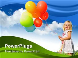 Adorable young girl holds tightly to a large bunch of helium filled balloons powerpoint theme