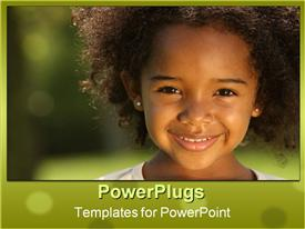 PowerPoint template displaying pretty little girl smiling happily on a blurry background