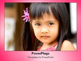 PowerPoint template displaying little girl looking adorably at camera