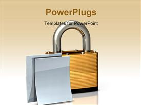 PowerPoint template displaying heavy brass padlock on a white floor/background with two blank white documents in the background.