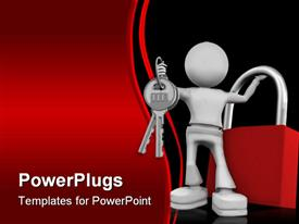 PowerPoint template displaying silver man holding keys and red lock with red black wave background