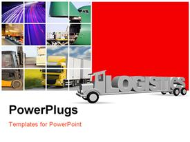 PowerPoint template displaying the word logistics on an old truck in the background.