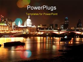 PowerPoint template displaying the scene of a city at night