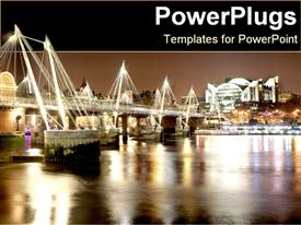 PowerPoint template displaying brightly lit London bridge with boats underneath on a lake
