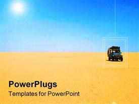PowerPoint template displaying car in the lonely desert in the background.