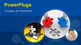 PowerPoint template displaying three tiles showing puzzle pieces and a man smiling