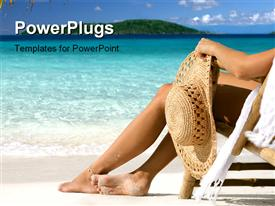 PowerPoint template displaying woman lounging in bamboo chair at the beach in the Caribbean
