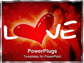 PowerPoint template displaying computer generated Valentine depiction with heart silhouette