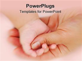 Conceptual image of two hands mother's hand is holding baby's hand powerpoint design layout