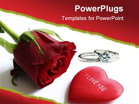 PowerPoint template displaying a rose with ring as a metaphor of love