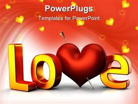 PowerPoint template displaying large yellow 3D Love text on a red background