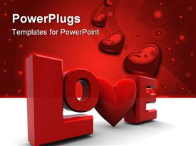 PowerPoint template displaying love written in a stylish way with a number of hearts in the background