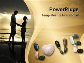 PowerPoint template displaying a couple standing on a beach along with the word love spelled with stones