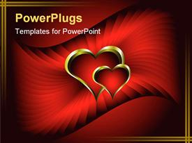 PowerPoint template displaying two golden love hearts inter linked on a red background