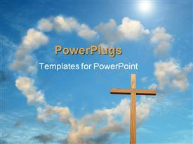 PowerPoint template displaying wooden cross with cloud forming heart shape in blue sky