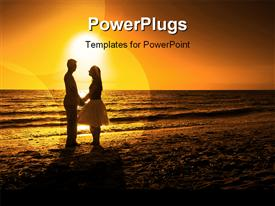 PowerPoint template displaying love_at_Sunset_0409