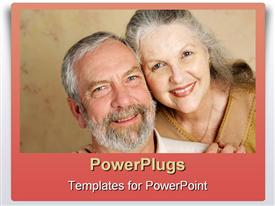 PowerPoint template displaying an old aged couple with grey hair showing love