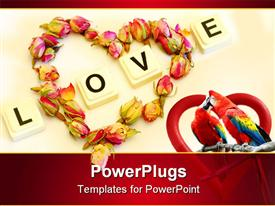 PowerPoint template displaying love theme with word love and heart made of rose buds, two kissing parrots inside red heart