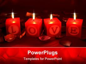 PowerPoint template displaying four candles depicting the world love with dark background
