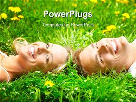 PowerPoint template displaying young love couple on the green grass