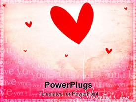 PowerPoint template displaying abstract computer generated valentine Depiction with heart