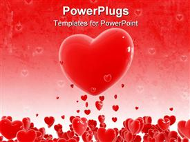 PowerPoint template displaying a collection of hearts with one heart in the middle