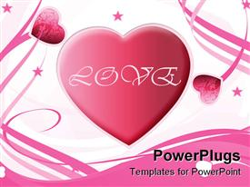 PowerPoint template displaying valentine's Day Background with hearts in pink color