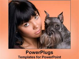 PowerPoint template displaying young lady hugs her cute dog