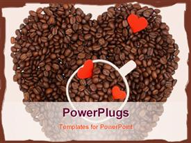 PowerPoint template displaying coffee beans making heart shape with a cup in the middle