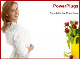 Fresh tulips on white background with copy space powerpoint design layout