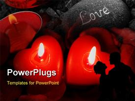 PowerPoint template displaying two heart-shaped candles burning together in harmony in the background.