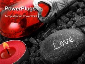 PowerPoint template displaying love still live with heart candle and a love stone in the background.