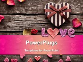 PowerPoint template displaying word Love with Heart shaped Valentines Day gift box on old vintage wooden plates