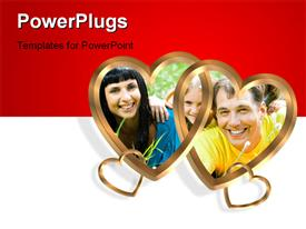 PowerPoint template displaying depiction 2 golden hearts linked together clip art symbol of love or icon