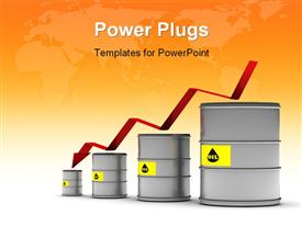 PowerPoint template displaying a number of oil cans with map in the background