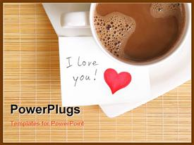 PowerPoint template displaying white cup of coffee with love note and red heart symbol