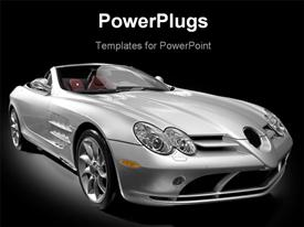 PowerPoint template displaying a silver colored open roof luxury car on a black background