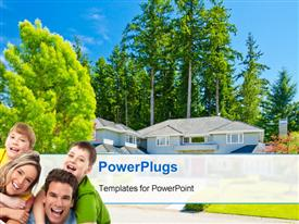 PowerPoint template displaying happy family of four with luxurious residential house with flowers