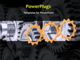 PowerPoint template displaying a number of gears depicting industrial background