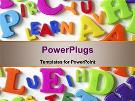 PowerPoint template displaying macro composition of many colorful plastic toy letters and word LEARN